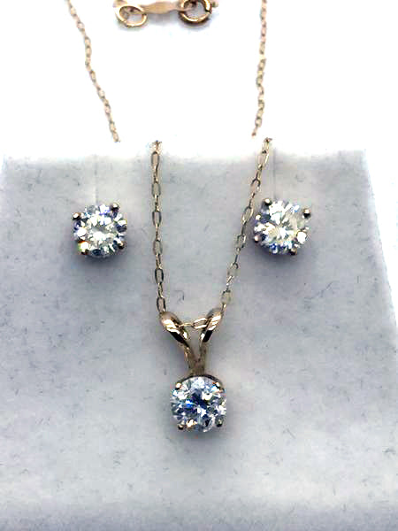14K Solid Gold Diamond Stud Earrings & Pendant