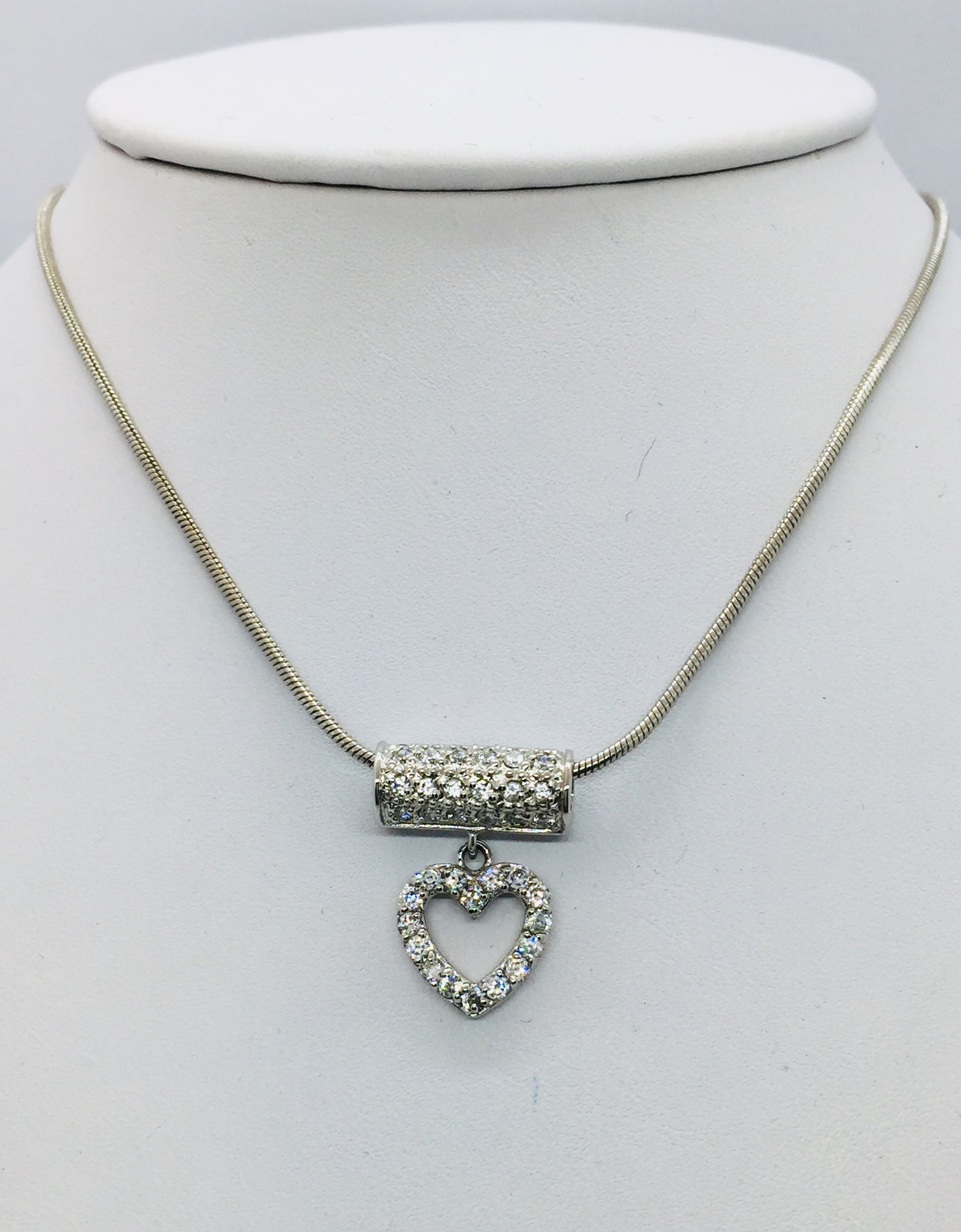 Solid Sterling Silver Cubic Zircon Heart Slide With Chain, 16""