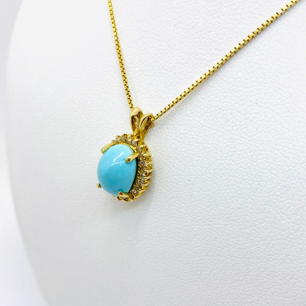 14k Solid Gold Untreated Persian Turquoise & Diamond Pendant & Chain
