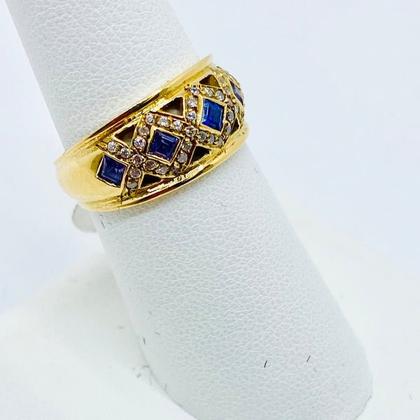Vintage 18k Solid Gold Tanzanite & Cubic Zirconia Ring