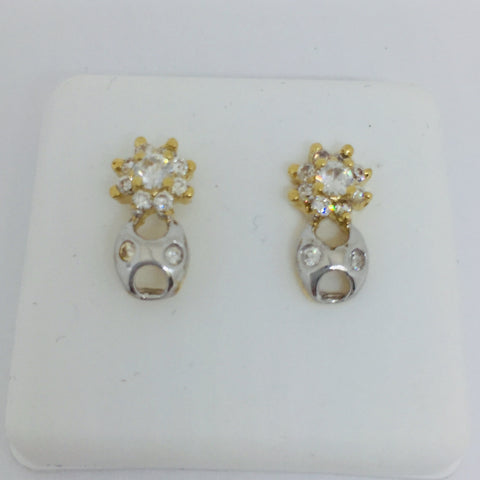 14k Solid Yellow & White Gold Cubic Zirconia Star Post Stud Earrings