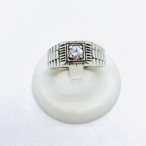925 Sterling Silver Men's Ring with Cubic Zirconia