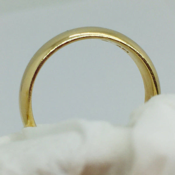 14k Solid Yellow Gold Wedding Band Ring, 1/2 Round, 5.2mm
