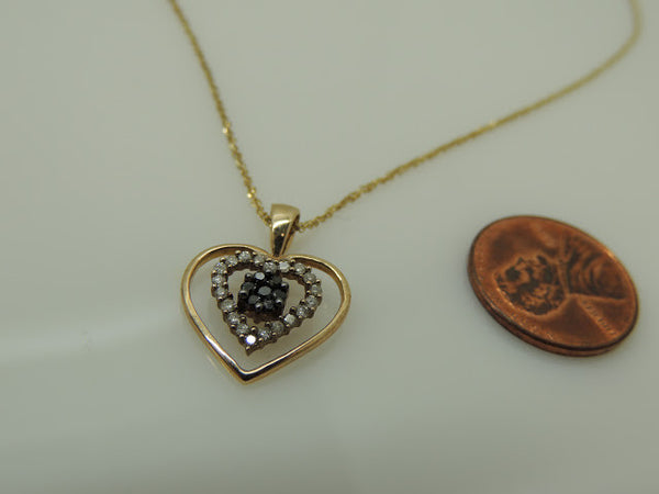 14Kt Gold Chain with Black and White Diamond Heart