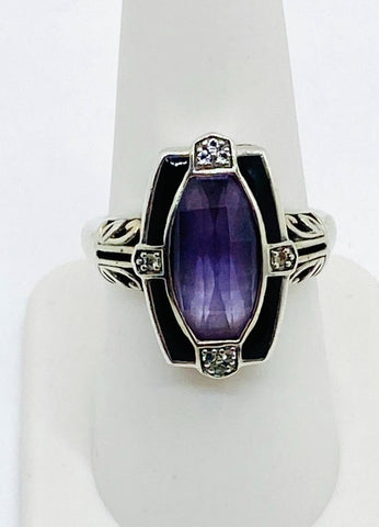 Vintage 925 Sterling Silver Natural Amethyst and Black Onyx Ring Size 8