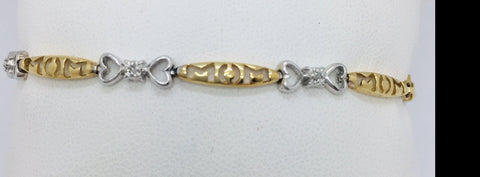 10k Solid Yellow Two Tone Gold Diamond MOM Heart Bracelet 7.25 Inches 5.1 Grams