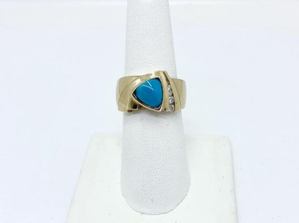 14k Solid White Gold Natural Persian Turquoise & Diamonds Ring, Size 8