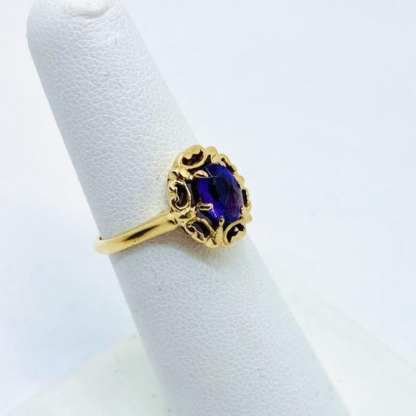 14K Yellow Solid Gold Genuine Amethyst Ring, Size 6