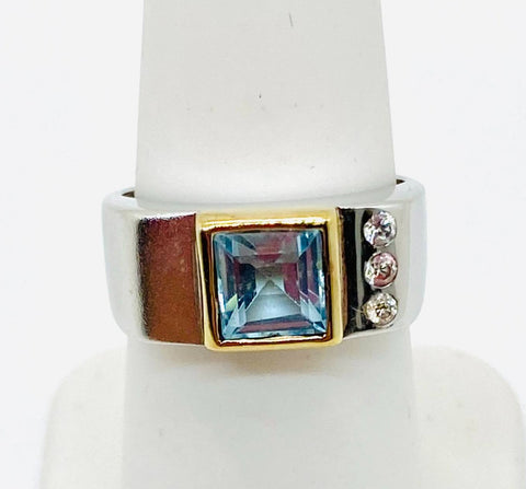 925 Solid Sterling Silver Square Natural Blue Topaz CZ Ladies Ring