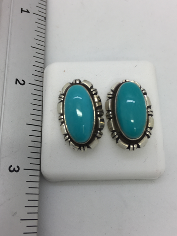 925 Sterling Silver Native Indian Turquoise Post Earrings