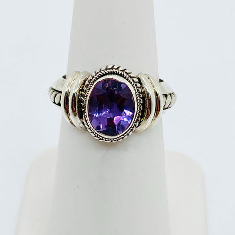 925 Solid Sterling Silver Natural Amethyst Ladies Oval Ring Size 6