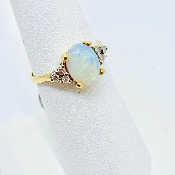 14k Solid Gold Genuine Opal & Diamond Ring