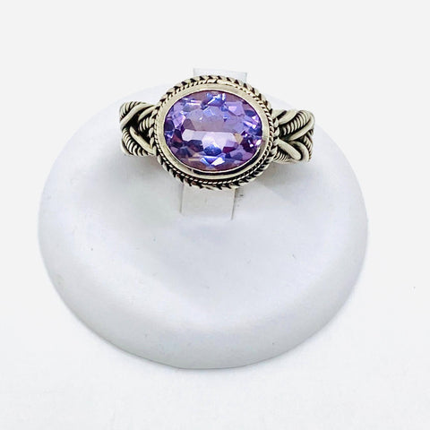 925 Solid Sterling Silver Amethyst Stone Ring Size 6.5