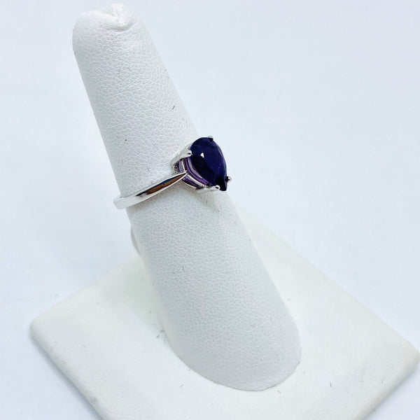 14K Solid White Gold Genuine Amethyst Ring