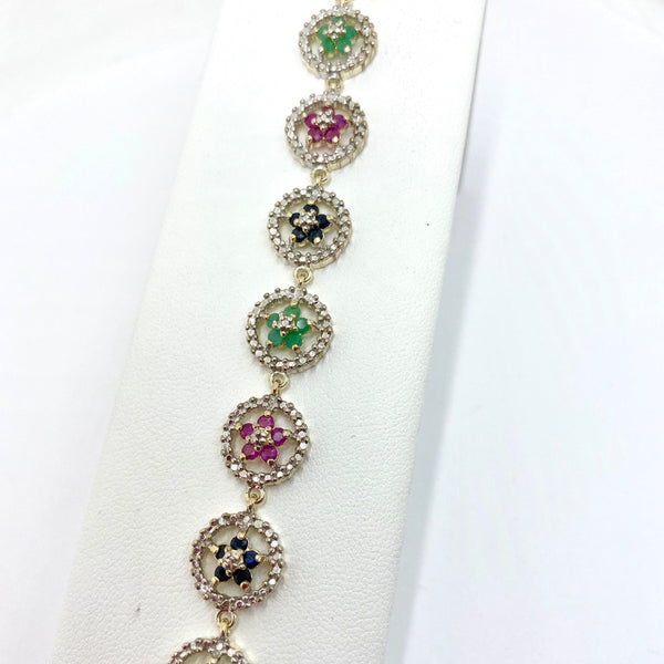 925 Sterling Silver Natural Diamond,Emerald, Rubie, and Sapphire Bracelet 7.5 Inches