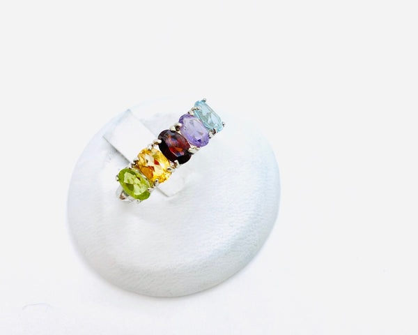 Sterling Silver Lady's Ring with Multi Color Stones