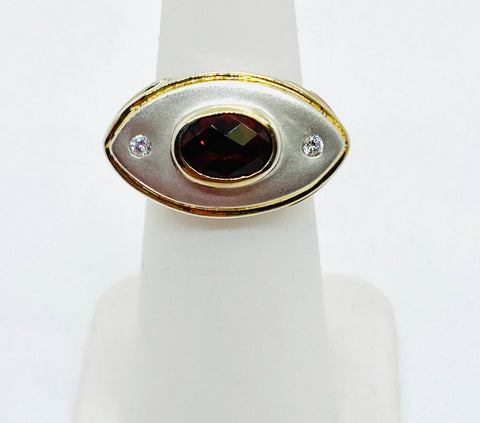 925 Solid Sterling Silver Rhodium Finish & Vermeil Natural Garnet Ring Size 5.75