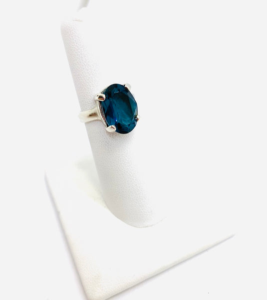 Sterling Silver Teal Blue Cubic Zirconia ring