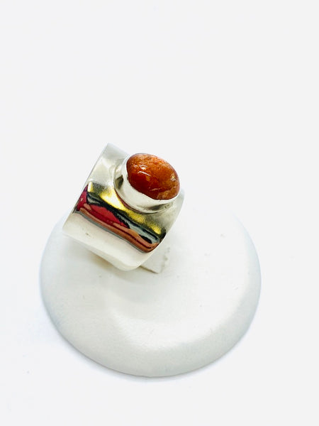 925 Sterling Silver Ring with Genuine Sunstone