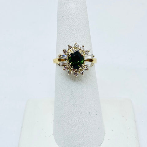 14k Solid Gold Green Tourmaline & Diamond Ring