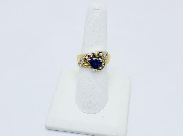 14k Solid Gold Genuine Tanzanite & Diamond Ring