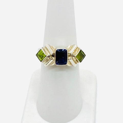 925 Solid Sterling Silver Iolite and Peridot Ladies 9.2 Grams Ring Size 9