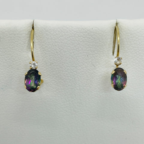 10k Solid Real Yellow Gold Mystic Topaz & Cubic Zirconia Hook Earrings