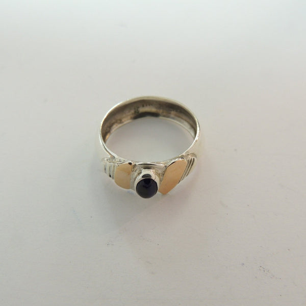 Sterling Silver Ring with Gold Detail, Handmade with Dark Blue Stone, Size 9
