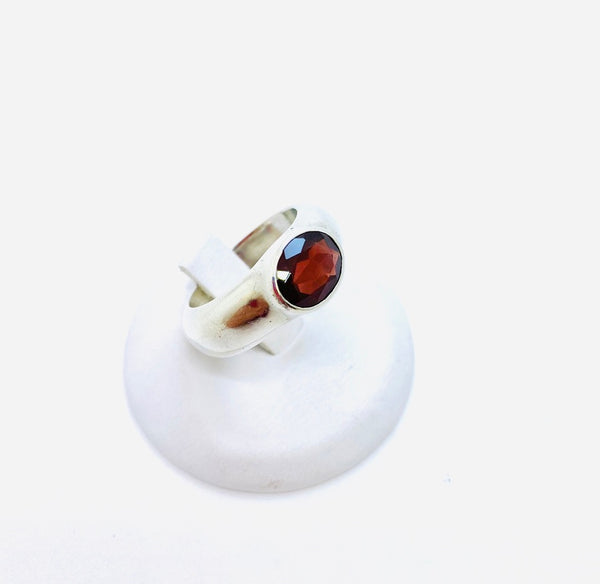 Sterling Silver Ring with Genuine Garnet Stone, Size 7