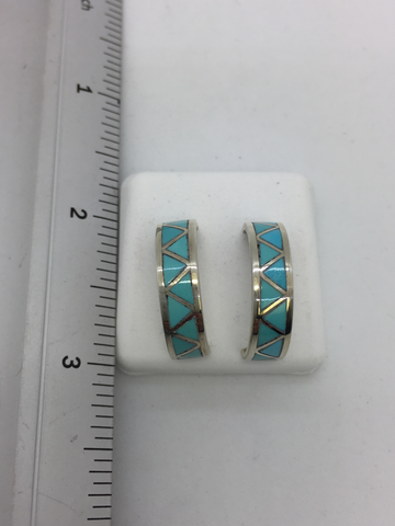 925 Sterling Silver Turquoise Native Indian Inlag Post/Drop Hoops Style