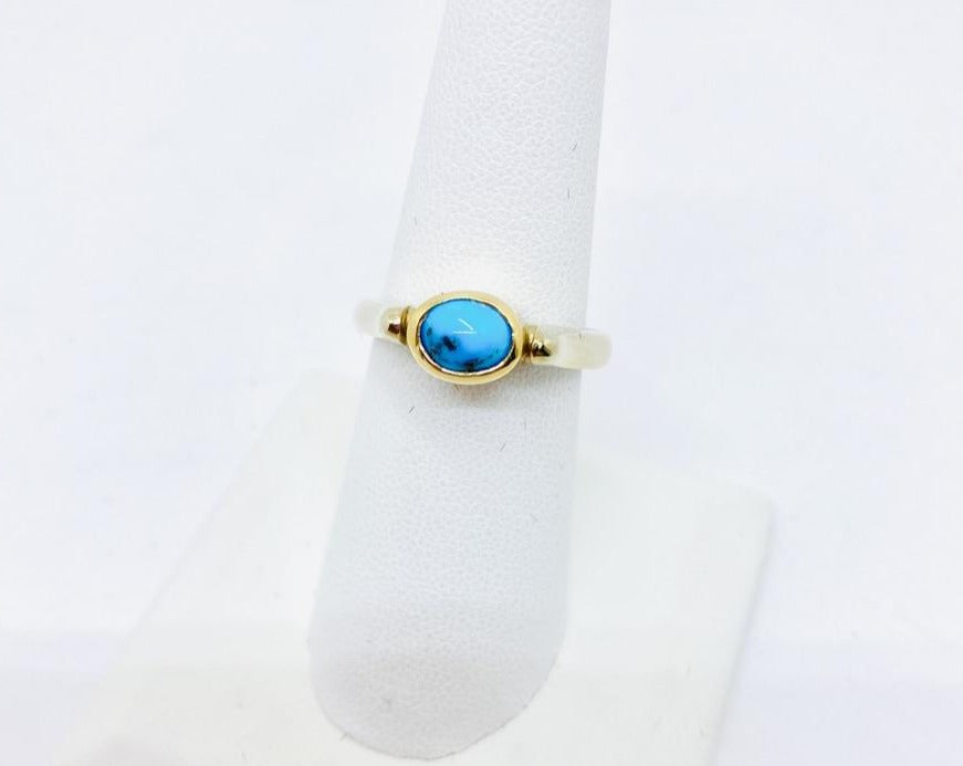 14k Solid Tone-Tone Gold Genuine Persian Turquoise Ring, Size 8