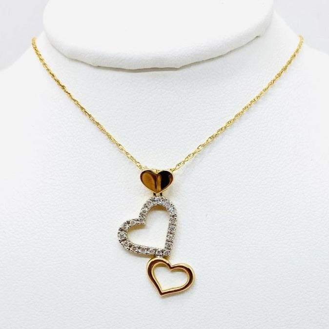 14Kt Gold Chain with Diamond Triple Hearts Pendant with 14k Chain 16""