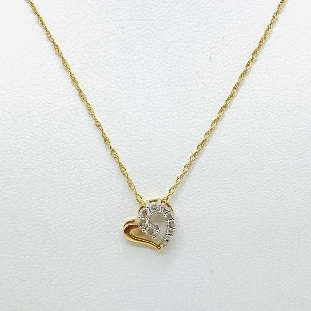 10Kt Yellow Solid Gold Heart with Diamonds Pendant, 0.18CTW with 14K Chain, 18""