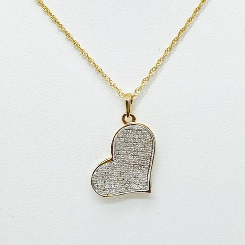 10KT Yellow Gold Diamond Micro Pave Heart, .40CTW, With 14K Chain 16""