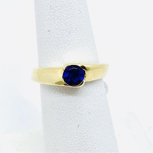 14k Solid Gold Lab Created Tanzanite Ring