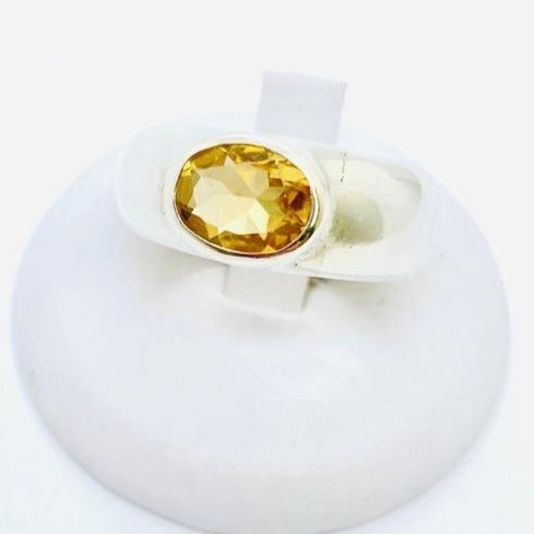Sterling Silver Genuine Citrine Ring Size 7.5