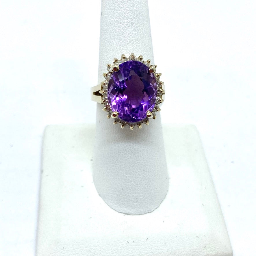 14K Solid White Gold Amethyst & Diamonds Ring, 7.5 Size