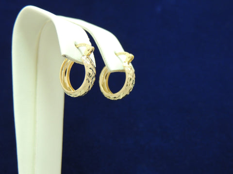 14k Yellow Gold Fancy Sparkle Hoop earrings