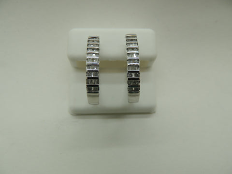 10K White Gold Lg Diamond Hoop Earrings