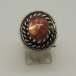 Sterling Silver Ring with Sunstone Ring, Size 6