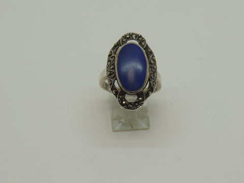Solid Sterling Silver Ladies Genuine Lapis Ring