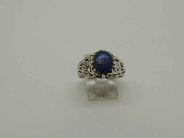 Solid Sterling Silver Genuine Lapis Ring