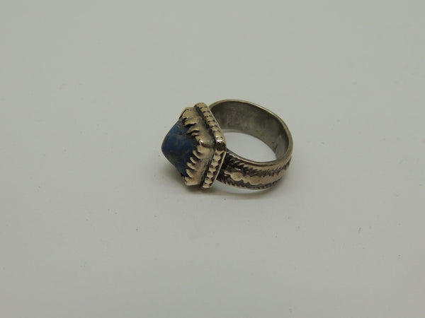 Solid Sterling Silver Genuine Lapis Antique Finish Ring