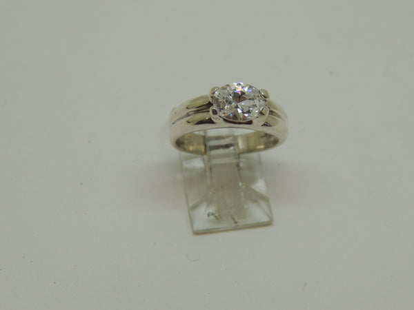 Solid Sterling Silver Lady's Oval Cubic Zirconia Ring