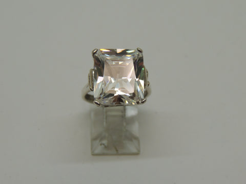 Sterling Silver Lady's Cubic Zirconia Emerald Cut Ring