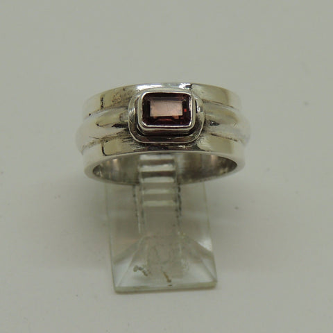 Solid Sterling Silver Band Ring With Garnet Stone