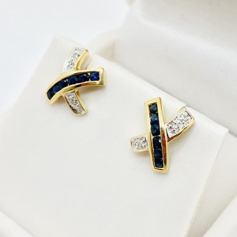 14K Yellow Gold Genuine Sapphire & Diamond Stud Earrings