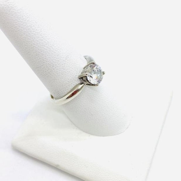Sterling Silver Lady's Solitaire Cubic Zirconia Ring