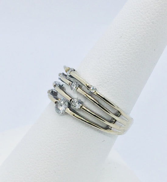 10k Solid White Gold Diamond Ring