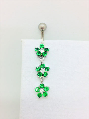 Solid Sterling Sliver / Staleness Steel / Cubic Zirconia / Green Flower